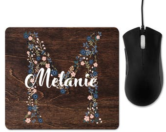 Personalized mouse pad, monogram mouse pad, rustic mouse pad, floral mouse pad, rustic mousepad, mouse pad, office decor, decor office