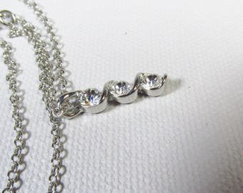 Three triple cz rhinestone drop dangle necklace