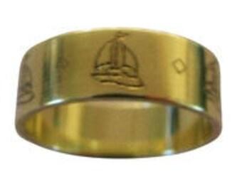 Sailing Sailboat Ring Engraved Wedding Band 7mm Wide 14K Gold