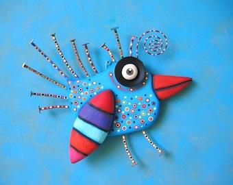 Bright Bluebird, MADE to ORDER, Original Found Object Sculpture, Bird Wall Art, Wood Carving, Wall Decor, Bird Sculpture, by Fig Jam Studio