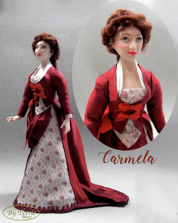 Dollhouse Doll CAMELA Doll Pattern and Tutorial Instructions PDF 1:12 Scale Instant Download DIY 1880 Bustle Dress House Worth Experienced
