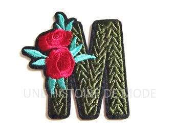 """Patch fusible patch letter """"M"""" to sew or iron 62 x 59 mm"""