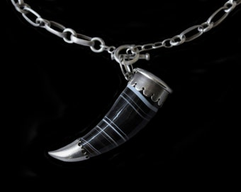 MoonsCuriousItems  -Fantastic Antique Banded Agate and Silver Horn Pendant Container -Sardonyx-Black & White