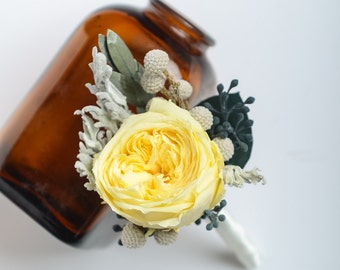 Yellow Garden Rose Boutonniere, Preserved Rose Boutonniere, Keepsake Boutonniere, Groom Boutonniere