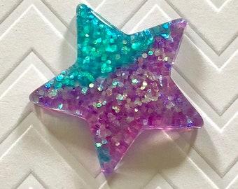 Big Glitter Star Magnets - set of 5 - blue, purple, glitter, sparkly