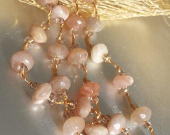 Sunstone Necklace - Gemstone Jewelry - Sunstone Jewelry - Sun Kissed Necklace - Hand Knotted Gemstone Necklace Accessories - Womens Fashion