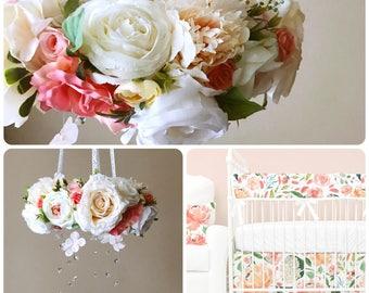 Flower mobile, Flower chandelier, Baby mobile, Floral mobile, Flower mobile with Swarovski / Crib chandelier, Purple and violet, Caden lane