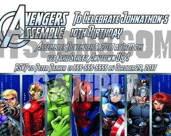 Custom Superhero Avengers Invitation (Birthday Party, Celebration) Spiderman, Thor, Captain America, Hulk, Black Widow, Hawk Eye, Iron Man