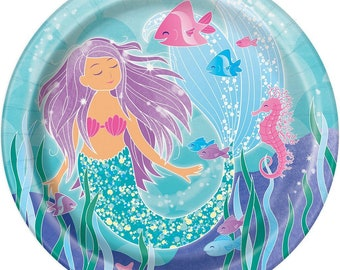 Set of 8 Sparkling Mermaid Theme Disposable Luncheon Plates - Birthday Plates - Dinner Size Party Plates