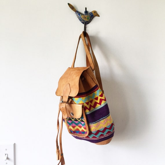 Vintage Ethnic Woven Backpack , Leather Textile Backpack , Crochet Leather Backpack