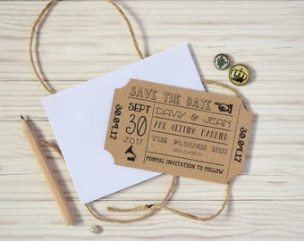 Vintage Ticket Save the Date Cards with Envelopes