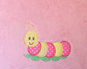 Caterpillar Applique Baby Blanket (Pink or Blue)