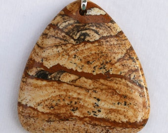 African Queen Picture Jasper Triangular-Shaped Pendant - Gallery Quality