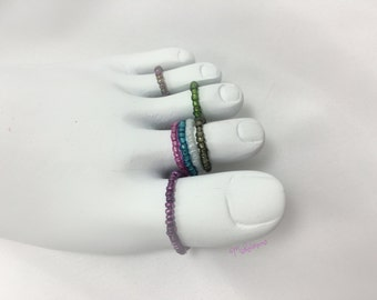 Custom Elastic Bead Ring Knuckle Midi Toe Stacking Stackable Elastic Beaded Ring Toe Ring Midi Ring Knuckle Rings by Michelaneous