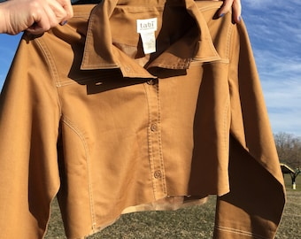 Vintage Cropped Caramel Jacket with Contrast Stitching