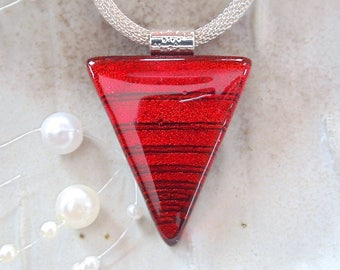 Red Necklace, Dichroic Pendant, Fused Glass Jewelry, Necklace Included, A12