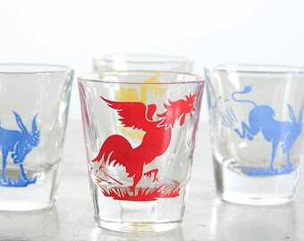 Vintage Shot Glasses / Mid Century Barware / Set of 6