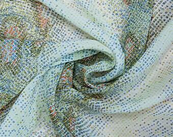 SALE!   FREE SHIPPING   Snakeskin Designer Silk Chiffon Fabric by the Yard   Green/Blue/Orange Printed Silk Chiffon