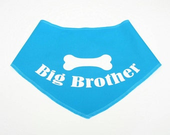 Dog BANDANA, Personalized Dog Bandana, Big Brother, Dog Scarf, Dog, Custom Name, Green, Blue, Pink, Red, Black