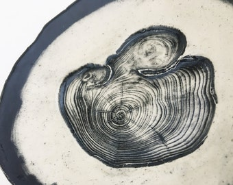 Black and White Pressed Scots Pine Tree Rings Hangable Catch All Dish (no 747)