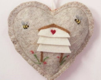Valentine Heart Bee Mine needle felted white Bee Hive scented heart, personalised with name