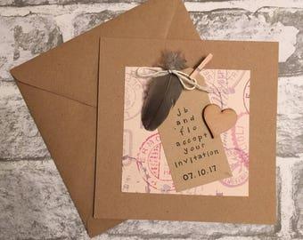 Wedding acceptance card, rustic wedding, travel theme wedding, personalised card, personalised acceptance card, unique card, handmade card