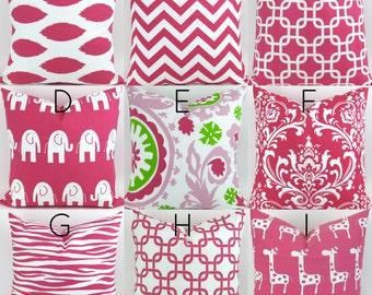 Hot Pink Cushion Covers  - 18x18 - Mix/Match patterns pillow sham euro throw bold modern geometric custom candy magenta Premier Prints