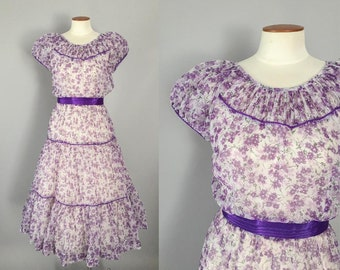 1950s vintage dress / purple floral nylon puff sleeve tiered skirt dress / 50s dress / small S