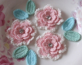 3 Crochet  Flowers With Leaves YH - 069-01