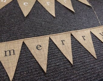 merry bunting flags on hessian burlap bunting christmas decoration