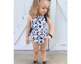 Black & White Daisy Print Ruffle aback Baby Romper - Sunsuit