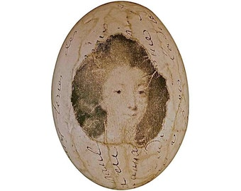 French Script Decoupage Egg Madame