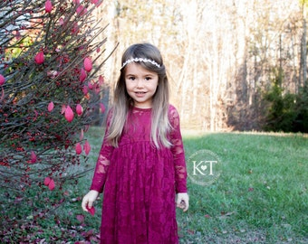 Ready to Ship- Long Sleeve Burgundy Lace Sweetheart Dress- Flower Girl, Wedding, Girl, Toddler, country, rustic dress, fall, winter, red