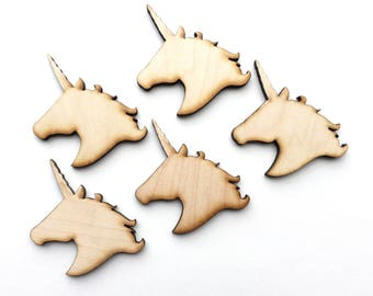 Unfinished Wood Unicorns 3x2 inch Set of 5, wood unicorn, kid Craft supplies, DIY supplies, wood shapes, wood crafts