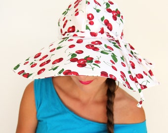 Wide Brim Hat in Cherry Print - Floppy Sun Hat by Mademoiselle Mermaid