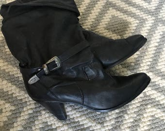 Vintage Black Leather Slouchy Boots