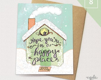 Happy Place Greeting Cards BOX of 8 - House Holiday Cards, Paper goods, Stationery, Christmas, Neutral Holiday Cards, cat holiday cards