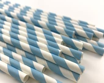 Blue Paper Straws, Blue Baby Shower, Blue Striped Straws, Boys Birthday, Nautical Baby Shower, Cake Pop Sticks, Beverage Straws