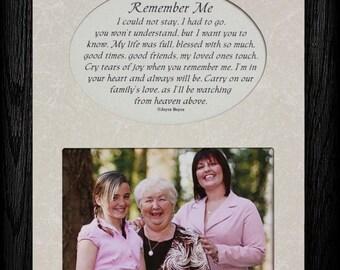 REMEMBER ME Picture & Poetry Memorial/Bereavement Keepsake Photo Frame
