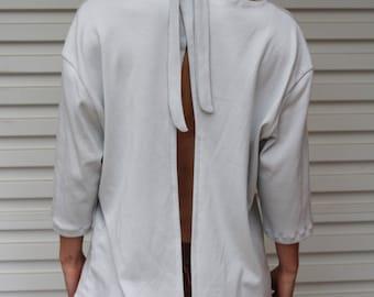 ORGANIC COTTON Tie Neck Deep V Open Back Slit Choker Criss Cross Top Shirt Blouse Eco Ethical