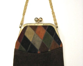 Vintage 1960's Multi-Colored Harlequin Pattern Chocolate Brown Suede Purse by Triangle of New York
