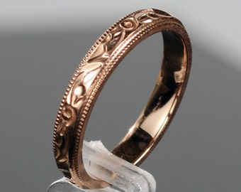 Hand Engraved 14k Rose Gold 3MM Tall Wedding Band Ring with Antique Design Milgrain Edge, US Sizes 5, 6, 7 & 8