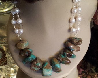Turquoise nugget necklace with fresh water pearl