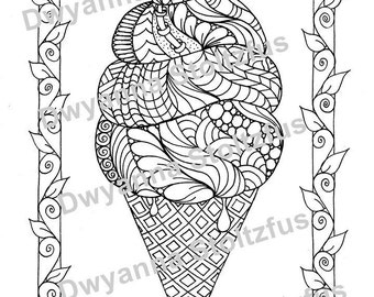 Tangled Ice Cream Cone Coloring Page JPG