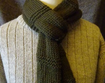 Scattald Scarf. Handknit in olive green Bluefaced Leicester wool
