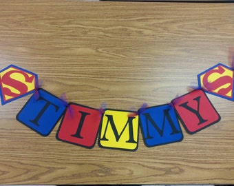 Superman Birthday Banner personalized with Name