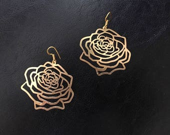 Large gold Rose earrings | Gold Brass Rose earrings | Boho Festival Flower Drop earrings | Pretty Anniversary Jewelry for Her