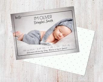 Birth Announcement Template, Birth Announcement Boy, Baby Announcement Template, Photography Templates, Photoshop Template, Digital, Oliver