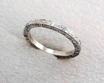 Unity Ring Hammered Argentium Silver Square Band by SmithSilver