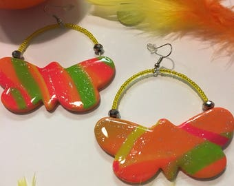 Neon Butterfly Hoop Earrings